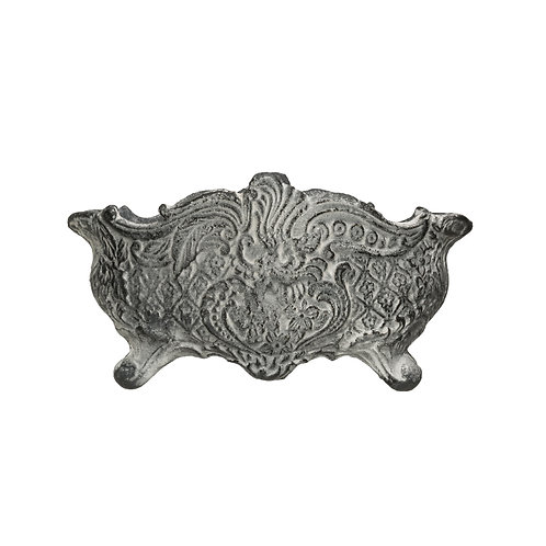 Vintage Reproduction Distressed Grey Cast Iron Cachepot