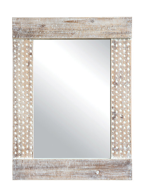 Wall Mirror with White Wash Finish