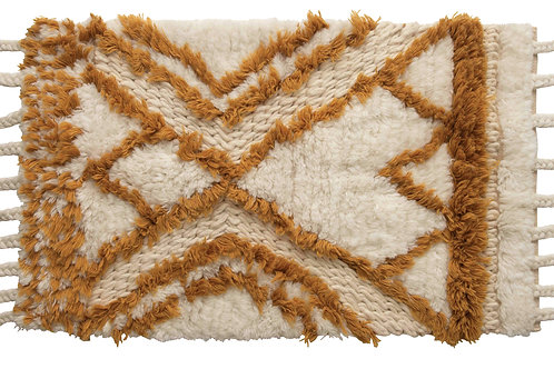 "24"" x 40"" Wool Tufted Patterned Rug with Braided Tassels"
