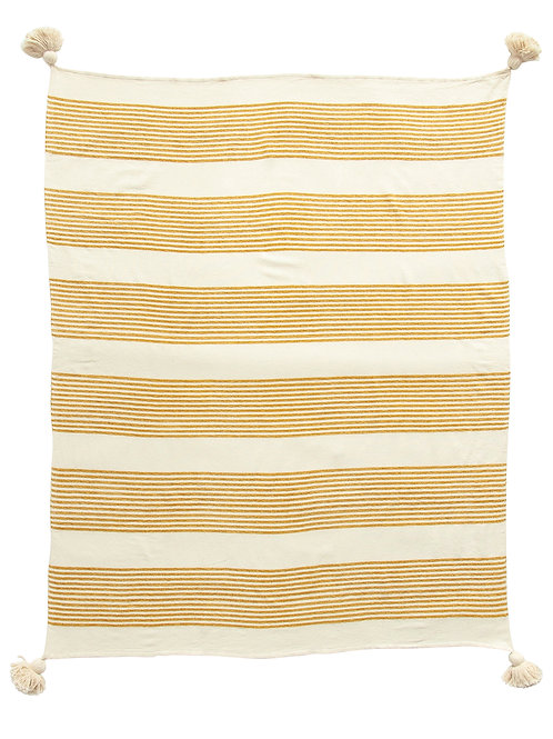 Cream Rayon & Cotton Woven Throw with Mustard Stripes & Tassels