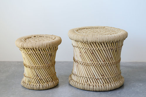 Handwoven Bamboo & Rope Side Tables (Set of 2 Sizes)