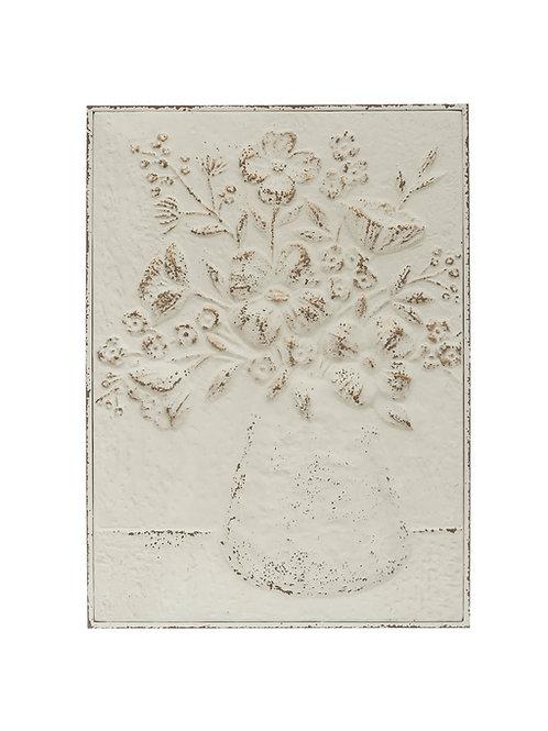"""24""""H Embossed Flowers in Vase Distressed Metal Wall Decor"""