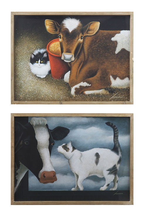 Cow & Cat Wood Framed Wall Decor (Set of 2 Images)