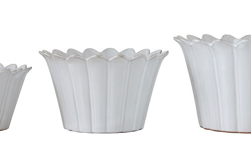 White Fluted/Flower Planters (Set of 3 Sizes)
