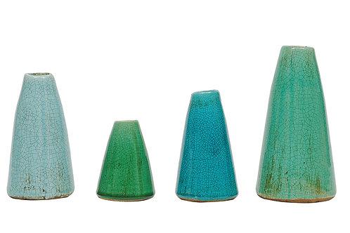Green & Blue Terracotta Vases (Set of 4 Sizes)