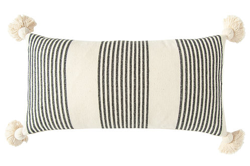 Cream Cotton & Chenille Pillow with Vertical Black Stripes