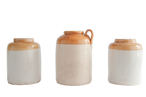 Small Found Decorative Ceramic Crock (Each one will vary)