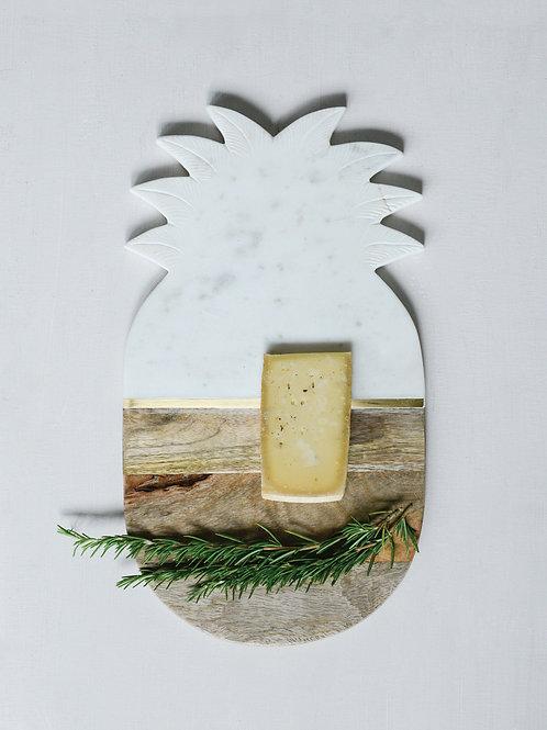 Marble & Mango Wood Pineapple Cutting Board/Tray