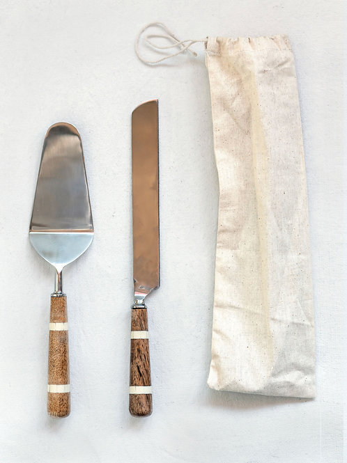 Stainless Steel Cake Knife & Server (Set of 2 Pieces)