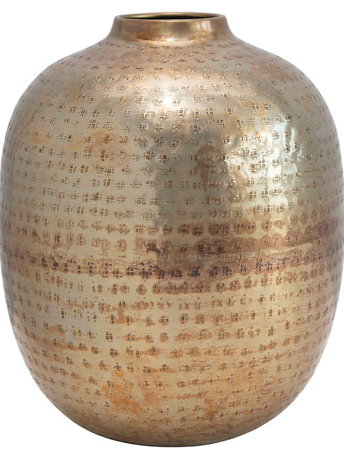 Hammered Metal Vase with Antique Finish