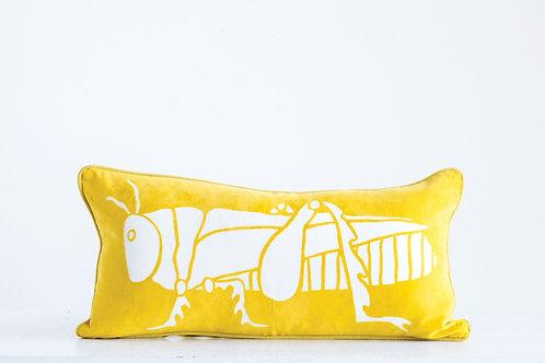 Bright Yellow Rectangle Cotton Velvet Pillow with White Grasshopper Image
