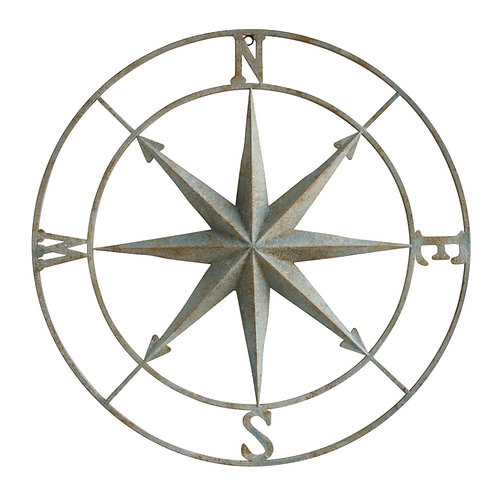 Large Distressed Metal Compass Wall Decor