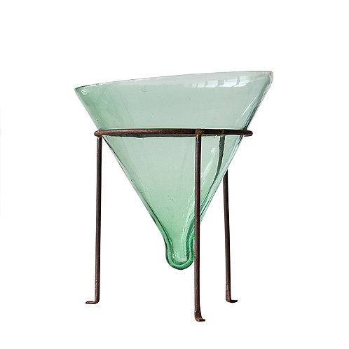 Large Recycled Glass Cone Planter with Metal Stand (Set of 2 Pieces)