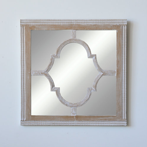 Square Whitewashed Wood & Glass Wall Mirror