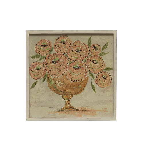 "20.25"" Textured Flowers in Vase Wall Decor with Square Wood Frame"