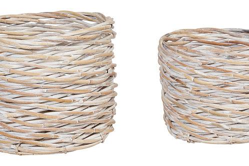 Handwoven Arurog Baskets with Whitewashed Finish (Set of 2 Sizes)