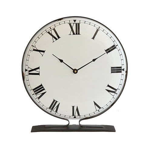 Round Metal Freestanding Clock with Black Base