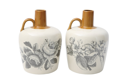 Large Grey & White Floral Stoneware Bottle (Set of 2 Styles)