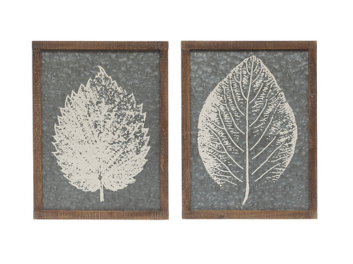 Painted White Leaf on Galvanized Metal Wall Decor (Set of 2 Styles)