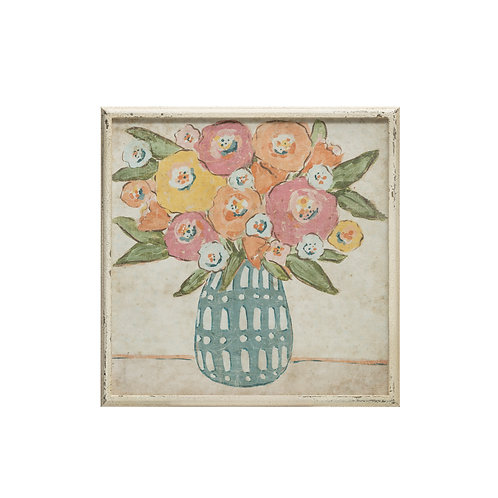 Pink & Yellow Flowers in Vase Wall Decor with Distressed White Wood Frame