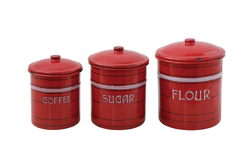 Flour, Sugar & Coffee Red Tin Containers with Lids (Set of 3 Sizes)