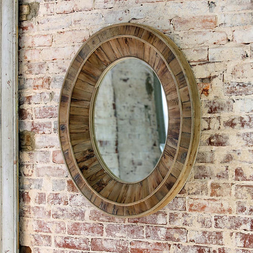 Primitive Reclaimed Wood Oval Mirror