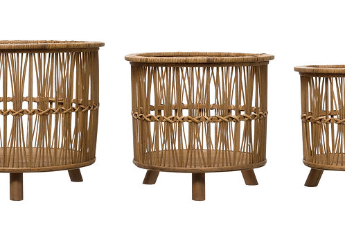 """11.25"""", 13.5"""" & 15.75"""" Woven Bamboo Footed Baskets (Set of 3 Sizes)"""