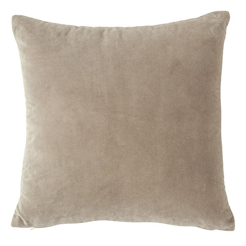Square Grey Cotton Velvet Pillow with Cream Back