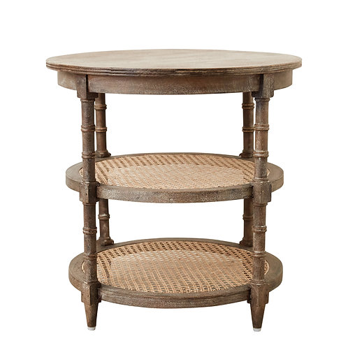 Round Mango Wood Table with 2 Cane Shelves