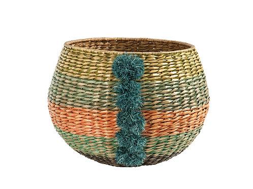 Handwoven Multicolor Cattail Basket with Raffia Pom Poms