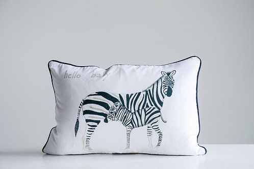 """""""Hello Baby"""" Cotton Pillow with  Zebras"""