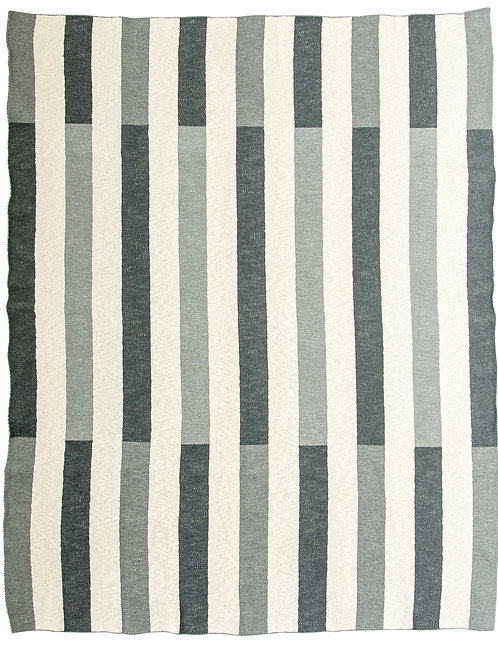 Light & Dark Grey Striped Cotton Knit Throw