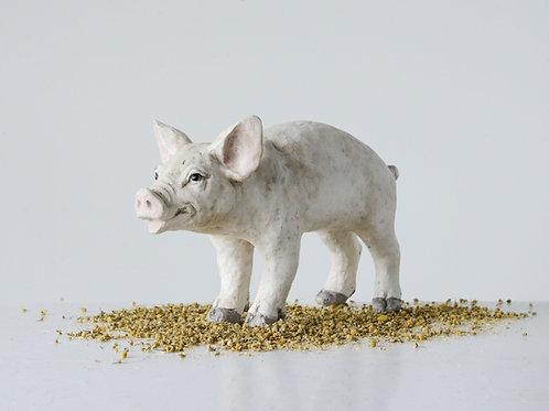 Cream Resin Pig Figurine