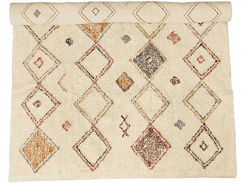 4' x 6' Cotton Printed Cut Pile Rug with Diamond Pattern