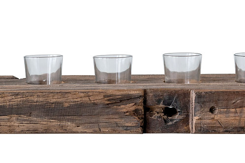 Reclaimed Wood Holder with 5 Glass Votives (Each one will vary)(Set of 6 Pieces)