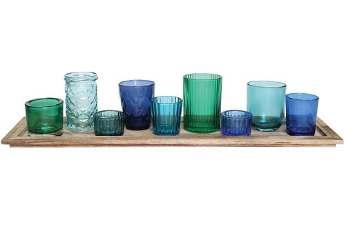 Wood Tray with 9 Blue & Green Glass Votive Holders (Set of 10 Pieces)