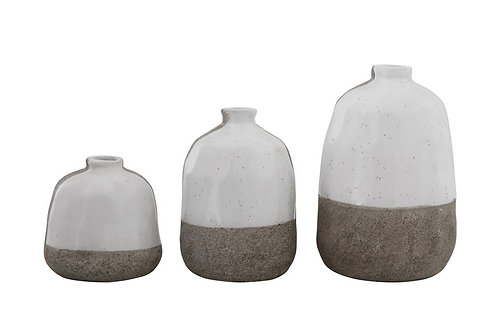 Terra-cotta Vases, Grey & White (3)