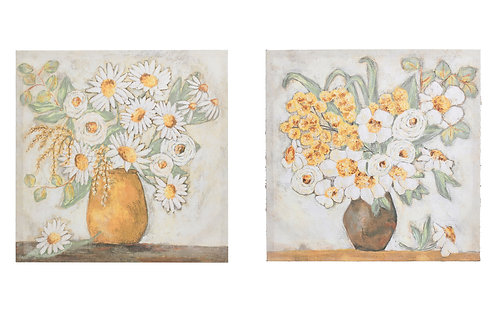 "20"" Square Flowers in Vase Canvas Wall Decor (Set of 2 Styles)"