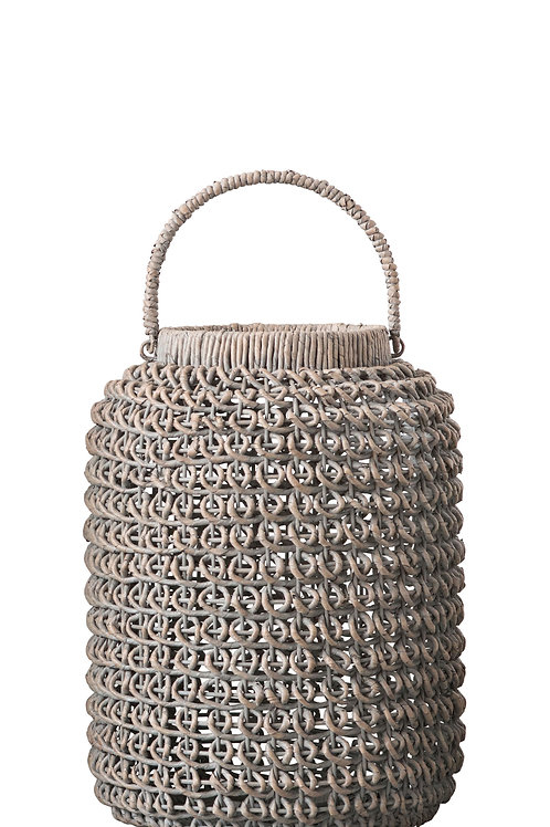 Medium Whitewashed Woven Water Hyacinth Lantern