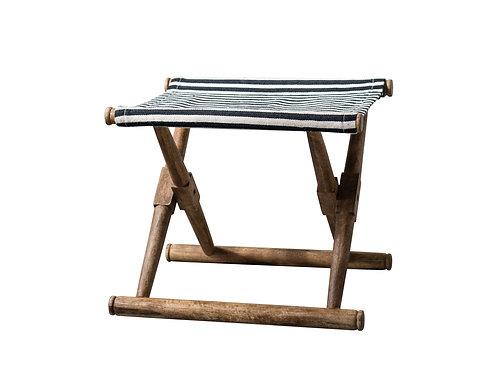 Folding Mango Wood Stool with Black & White Striped Cotton Fabric Seat