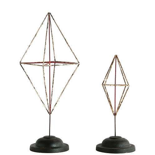 Metal Diamond-Shaped Geometric Decorative Accent on Stand (Set of 2 Sizes)