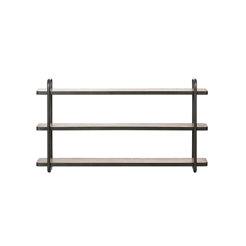 Fir Wood & Black Metal 3-Tier Wall Shelf (Hangs or Sits)