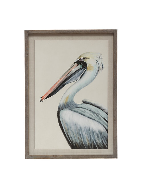 Pelican Image Wood Framed Wall Decor