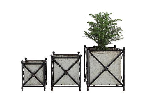 Square Grey Metal Flower Boxes Inside Decorative Black Frame (Set of 3 Sizes)