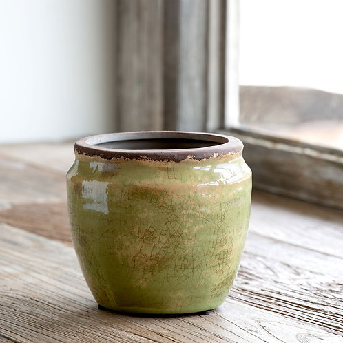 Chartreuse Glazed Ginger Jar, Medium