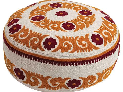 "8""H Suzani Embroidered Cotton Pouf"