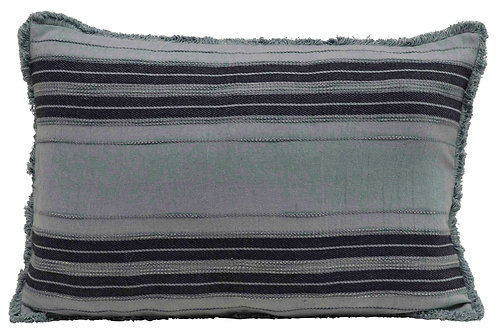 Striped Rectangle Cotton Pillow with Fringe