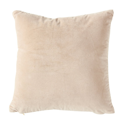 Square Taupe Cotton Velvet Pillow with Cream Back