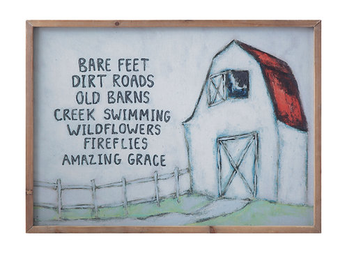 """""""Bare Feet, Dirt Roads"""" Canvas & Wood Wall Decor with Barn Image"""