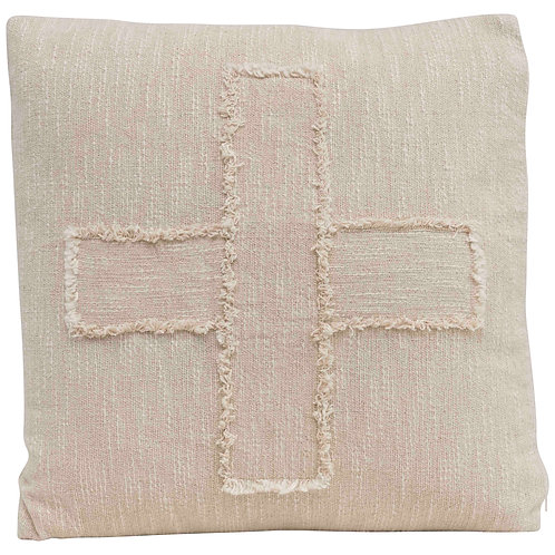 "Square Cotton Mudcloth Pillow with Fringed ""X"" Pattern"